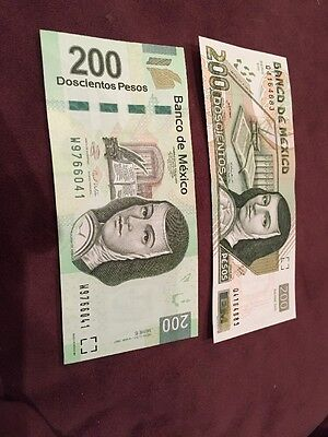 México 200 Pesos Bills Old & New  UNC!!