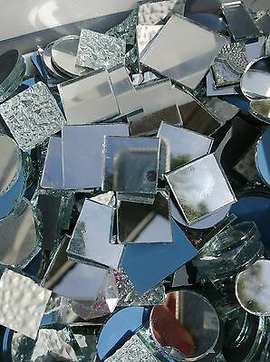 "100 Handcut Glass Tile Silver Mirrors Mosaic Tile 1/2"" Square Rectangle Shapes"