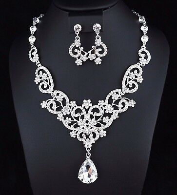 Floral Drops Clear Austrian Rhinestone Crystal Necklace Earrings Set Prom N24