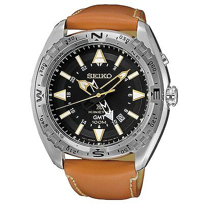 Seiko Prospex SUN055 Men's Kinetic Leather Band Black Dial GMT Analog Watch
