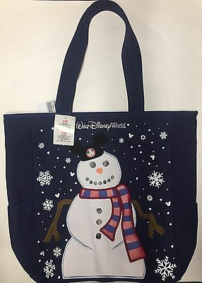 Walt Disney World Snowman Mickey Ears Holiday Canvas Tote Bag 2016!  Free Ship!