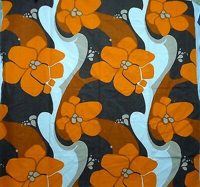 Mod Tablecloth Thick Cotton 50 X 52 in. Orange Ivory Brown Tan Large Flowers