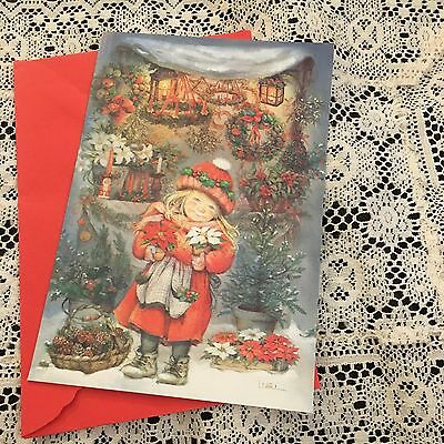 Vintage Greeting Card Christmas Lisi Martin Cute Girl Wreaths