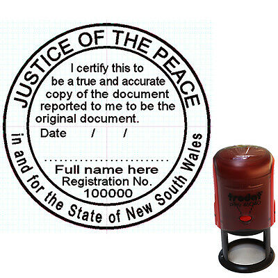 JUSTICE OF THE PEACE NSW  Custom Self Inking Rubber Stamp ROUND 40mm