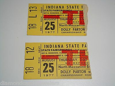 Dolly Parton 2 Concert 1977 Ticket Stubs Indiana State Fair August 25, 1977 Usa