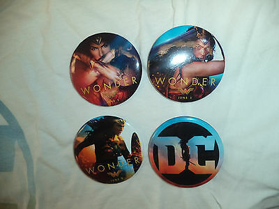 2017 Wondercon Wonder Woman Promo  Button Set of 4 Rare