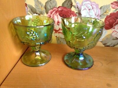 Set of vintage Indiana Glass green Carnival glass sugar creamer grape pattern