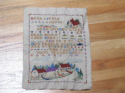 Vintage Antique Sampler Picture Dear Little House X Stitched Finished