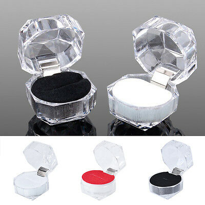 Jewelry Pretty Clear Acrylic Crystal Ring Earrings Boxes Gift Case