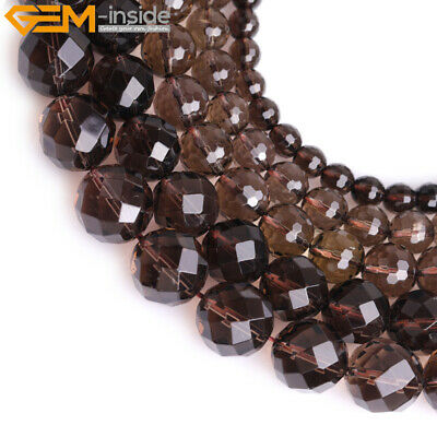 AAA Grade Natural Faceted Brown Smoky Quartz Beads Jewelry Making Strand 15''