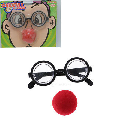 Funny Nose Clown Glasses Fancy Dress Up Costume Props Fun Circus Clown Favor
