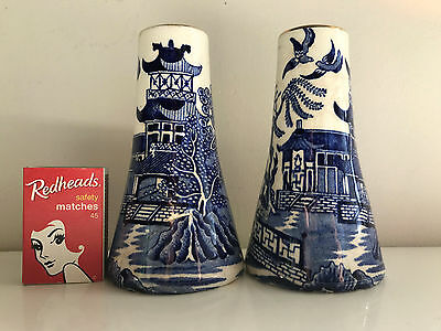 large rare salt & pepper burleigh ware willow ware blue & white old