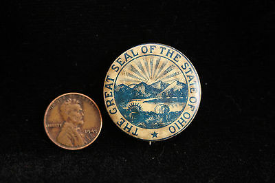 Rare Vintage Pinback Pin - The Great Seal of the State of OHIO - Hoegee Co