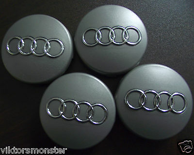 AUDI wheel CENTER CAPS 60mm gray for oem A3 A4 A6 A8 S3 S4 alloys FREE SHIP