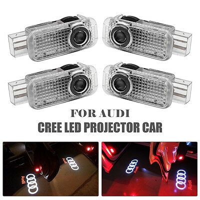 4x AUDI CREE LED PROJECTOR CAR DOOR LIGHTS SHADOW PUDDLE COURTESY LASER LOGO
