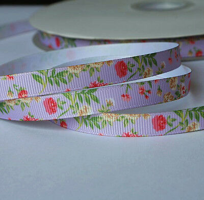 10mm wide Grosgrain Ribbon Mauve Floral Pattern - by the metre - Sewing / Craft