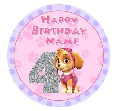 Skye Paw Patrol Personalised Icing or Wafer Paper Cake Topper 19cm PRE-CUT