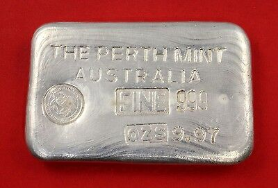 Very Rare 9.97oz Type A 999 Australian Perth Mint Fine Silver Bullion Bar