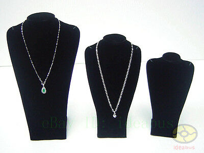 "SET=3pcs BLACK(13.7"" 10.2"" 8.3 "" tall)Bust Necklace Jewelry Display Stand Holder"
