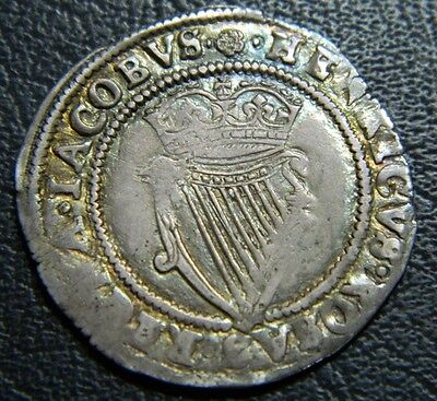 Nice 1601-1626 Ireland James 1St Silver Shilling  Mint Mark Rose , High Grade.