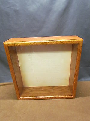 """Solid Oak Wall Glass Front Display Case Wall Cabinet Shadow Box 14""""x14""""X4"""""""