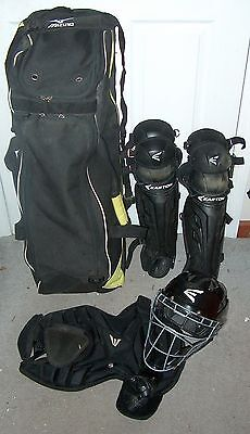 Youth Easton Catcher Equipment Gear Helmet/mask,shin Guards,chest Protector,bag