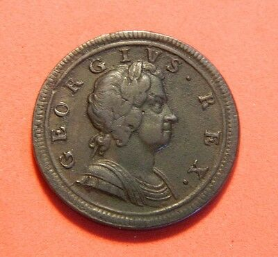 George 1St 1723  Copper Half Penny, Nice Grade.