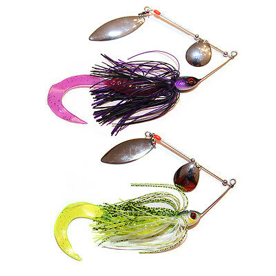 2x 1/2oz Soft Plastic Spinnerbaits Spinner Bait Fishing Lures Buzzbait COD BASS