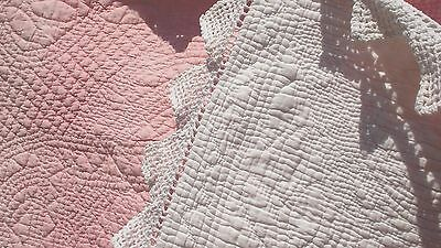 French antique  Provence white wedding quilt intriquate hand quilting c. 1880