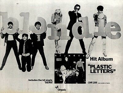 "Album Advert 15X12"" Blondie : Plastic Letters"