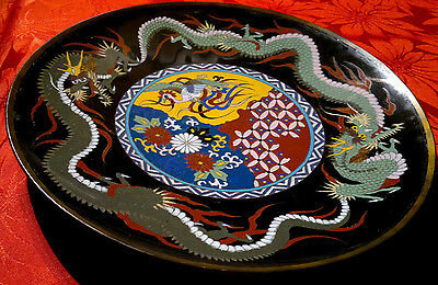 "Antique Japanese 19thC Meiji Cloisonne Double Dragon Charger Plate 12"" dia"