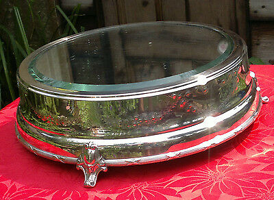 Antique Victorian Silverplate Wedding Cake Stand Mirror Plateau-