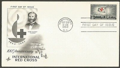 Us Fdc 1963 International Red Cross 5C Stamp Ac First Day Of Issue Cover