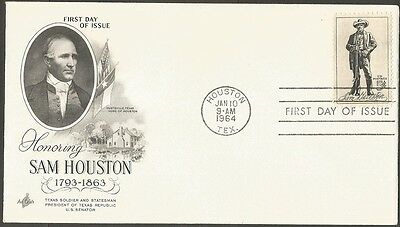 Us Fdc 1964 Sam Houston 5C Stamp Art Craft First Day Of Issue Cover Houston Tx