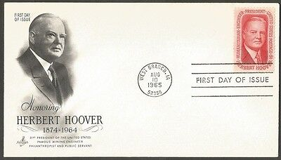 Us Fdc 1965 Herbert Hoover 5C Stamp First Day Of Issue Cover West Branch Ia