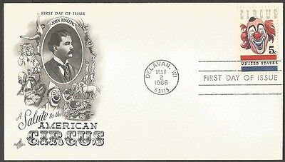 Us Fdc 1966 American Circus 5C Stamp Art Craft First Day Of Issue Cover Delavan