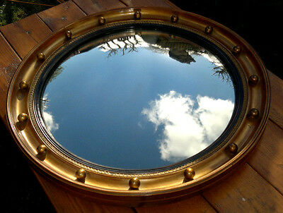 "Antique Gilt Wood Gesso Convex Mirror Butlers-Porthole Mirror 17.5"" Diameter"