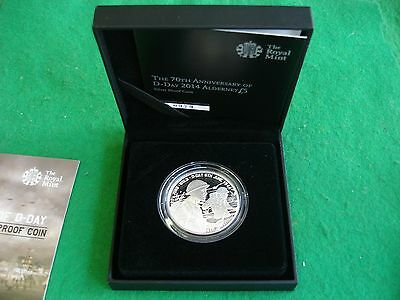 """2014 Alderney silver proof £5 Five Pound """"D-Day 70th Anniversary""""  FREEPOST"""