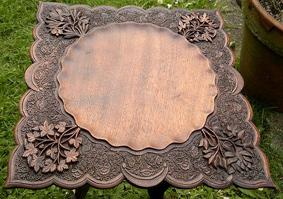 "Antique Anglo Indian Carved Folding Side Table -14"" top 16"" tall"