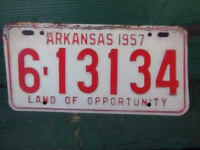 1957 Arkansas 6-13134 Land Of Opportunity License Plate Automobile Garage Tavern