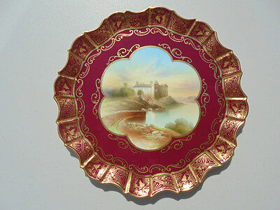 """Old Antique Aynsley Bone China Cabinet Plate """"Linlithgow"""" Artist Signed 8 7/8"""""""