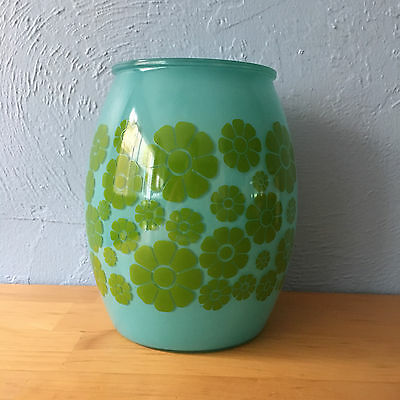 Vintage Bartlett Collins Blue with Green Flowers Glass Canister Cookie Jar