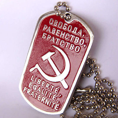 Russian Military Army Hammer, Sickle Dog Tag, Chain FREEDOM EQUALITY BROTHERHOOD