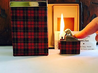 Working Vintage Evans Red Plaid Lighter With Matching Cigarette Case