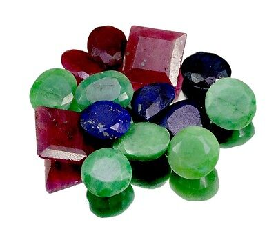 130ct / 14pcs Natural Emerald Ruby Sapphire UK Ring Size Gemstone Wholesale Lot