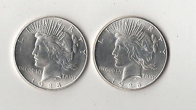 1928 Two Face Peace Dollar Two Headed Novelty Trick Fantasy Coin Magic AU to BU