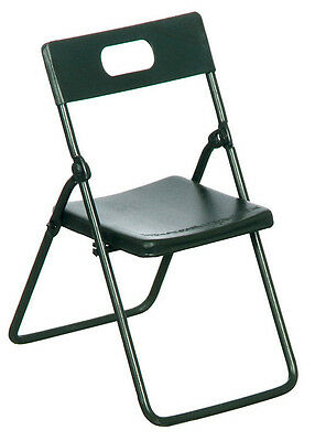 Black Metal Folding Chair, Dolls House Miniature Furniture 1,12 Scale