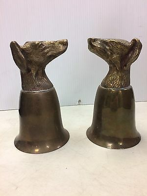 2 vintage Silverplate Brass Dog Head Goblets Cup Drinkware
