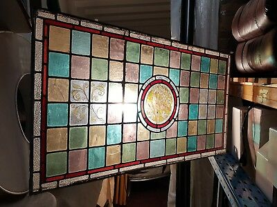 Antique Victorian Hand Painted Colourful Stained Glass Multi Coloured Bird