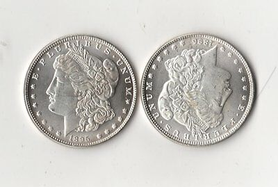 2 Morgan Dollar Two Face Trick Coins 1895 2 Heads & S & O Mint 2 Tails Magic AU